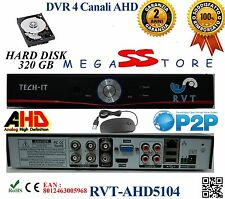 Kit DVR 4 Canali AHD  CON HD 320GB P2P CLOUD   WEB SERVER HDMI HARD DISK APP