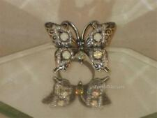 NEW SZ 6.5-7PEWTER LOOK BUTTERFLY RING W/BEADS & LOVELY CLEAR & AB CRYSTALS r123