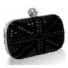 Black Satin and crystal clutch with Skull Clasp Wedding Prom Party Evening Bag