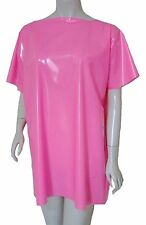 PVC Shirt Tee T Shirt Top Mini Dress Shiny Hot Pink Vinyl Plastic 1 Size Unisex