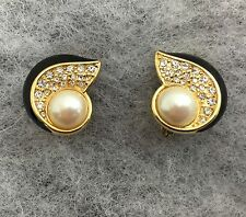 Monet Art Deco Pearl Pave Crystals Black Enamel Goldtone Clip-On Earrings 1""