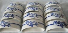 Blue Bird Napkin Ring Hand Painted Portugal set of 12