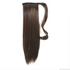 "18"" Human Hair Clip In Wrap Around Pony Tail- Medium Dark Brown Col  Col 4"