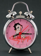 "Betty Boop Twin Bell 3"" Alarm Clock Pink Dial Pin-Ups Gift"