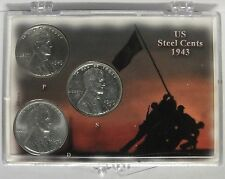 1943 Lincoln Steel Cent Penny Coin Set - PDS Mint - U.S. Wartime Pennies Cents