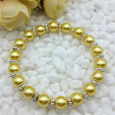 Wholesale fashion jewelry golden yellow 8mm glass pearl stretch beaded bracelet