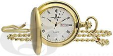 Charles-Hubert Gold-Plated Satin Finish Hunter Case Quartz Pocket Watch 3974-G