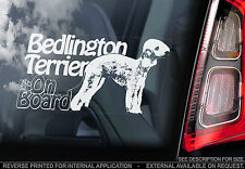 Bedlington Terrier - Car Window Sticker - Dog Art Print Rothbury Sign - TYP1