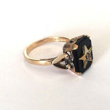C&C Clark and Coombs Ladies Onyx Masonic Ring Sz 7 3/4 Order of the Eastern Star