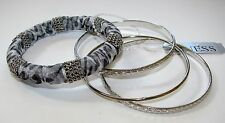 NEW GUESS SILVER TONE WITH PURPLE 4 SET BANGLE BRACELET-GO809B-6