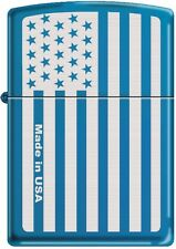 ZIPPO Windproof Lighter American Flag Subdued Laser Engraved, Sapphire Blue Rare