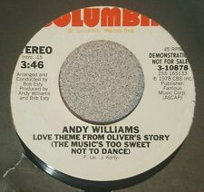 Andy Williams ‎– Love Theme From Oliver's Story / Same ~ Promo (VG+)