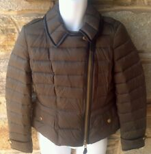 Authentic Burberry Brit Leather-Trim Brown Puffer Coat Size L $995.00