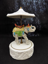 Vintage Beautiful Ceramic Carousel Circus Elephant Music Box, Quon-Quon Japan