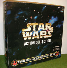 "STAR WARS ACTION COLLECTION 12"" WEDGE ANTILLES & BIGGS DARKLIGHTER REBEL PILOTS"