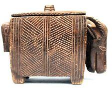 Art Africain Arts Premiers - Ancien Réceptacle en Bois - Boite Dogon - 25 Cms