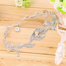 Elegant Bridal Rhinestone crystal prom hair chain forehead band Headpiece UL
