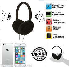 Knitted Black Music Earmuffs with Built in Audio Headphones Earphones iPod MP3