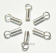 4x Sterling Silver Bright 1mm Round Leather End Cap