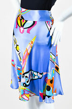 Emilio Pucci Periwinkle Blue Multicolor Abstract Print Knee Length Skirt SZ 6
