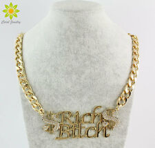 New Fashion Gold Chain Clear Rhinestone Dollar Sign Letter Pendant Necklace