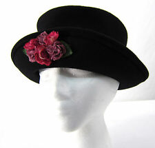 Yehasso Bowler Derby Hat Black Wool with Pink Roses M 7-7-1/8 USA Steampunk Boho
