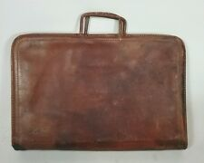 Antique Vtg 1940s Leather Brief case Bag Carry Folder WWII Talon Zipper