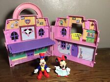 Mattel Disney Mickey Mouse Minnie Mouse Playset Foldout House With Figures Lot