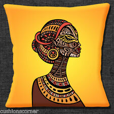 "AFRICAN TRIBAL LADY YELLOW ORANGE BROWN SHADES PRINT 16"" Pillow Cushion Cover"
