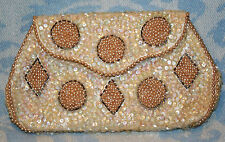 Vintage Antique Charlet Clutch Beaded And Sequin Soft Cream & Pastel Iridescence