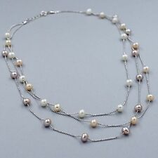 New White Freshwater Pearl 925 Sterling Silver Chain Strand String Necklace 1177