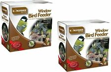 GLASS WINDOW BIRD FEEDER TABLE SEED PEANUT HANGING SUCTION PERSPEX CLEAR VIEW X2