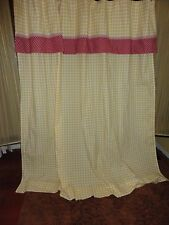 LAURA ASHLEY YELLOW GINGHAM CHECK RED FLORAL VALANCE SHOWER CURTAIN 70 X 71