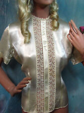 VINTAGE 1940 Ladies blouse TOP cream SILK slipper SATIN lace inserts BUTTONS S-M