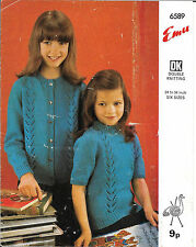 Vintage Emu Knitting Pattern Girls DK Cardigan & S/S Jumper 24-34""