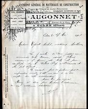 """CULAN (18) MATERIAUX de CONSTRUCTION """"AUGONNET"""" en 1907"""