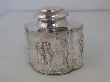 ANTIQUE ENGLISH TEA CADDY BOX REPOUSSE FIGURES SILVER PLATE SHEFFIELD