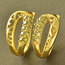 Amazing Fashion Girls Gold Filled Olive Green CZ Ladies Lips Hoop Earrings