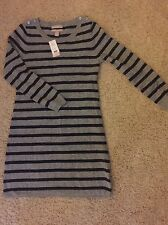 Banana Republic Light Gray Striped Cashmere Blend Sweater Dress PM Medium NWT