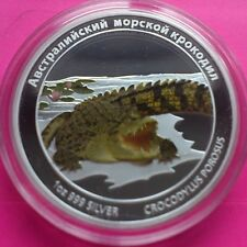 2011 TUVALU SALTWATER CROCODILE  SILVER PROOF RUSSIAN VERSION COIN RARE COIN