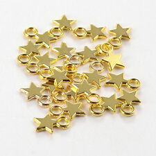 100PCS Tibetan Style Blank Stamping Tag Charms Pendants Christmas Star Golden
