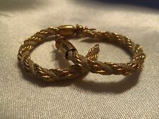 INCREDIBLE Vintage Textured Gold & WHITE Silk Cord TWISTED Hoop Earrings 15E160