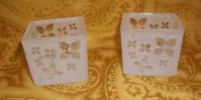 "Set of 2 Frosted White Floral Tea Light Holders By Partylite 2"" Square"
