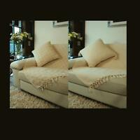 Luxury Large Soft 100% Heavyweight Cotton Sofa Bed Settee Throw Cream Beige