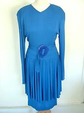 Vintage original 80s Jean Muir designer blue peplum evening party dress, S 10