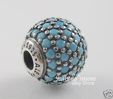ESSENCE WISDOM Genuine PANDORA Silver/TURQUOISE COLORED CRYSTAL Charm/Bead NEW