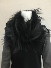 Gucci Wool And Fox Fur Scarf/wrap Charcoal Grey Black
