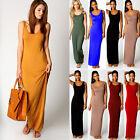 Women Cotton Stretch Casual Sundress Summer Maxi Long Beach Slim Vest Tank Dress