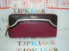 NWT COACH~Beet Multicolor~Spectator Leather Zip Around Wallet F47753