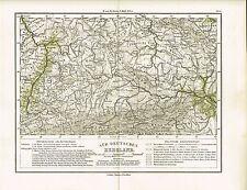 Physische Karte von SÜD-DEUTSCHLAND, Original-Graphik 1874